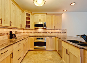 kitchen with blonde cabinets in breckenridge co property