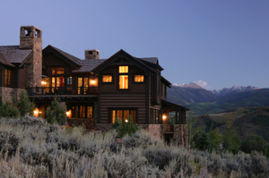 nighttime exterior shot of summit county home for sale