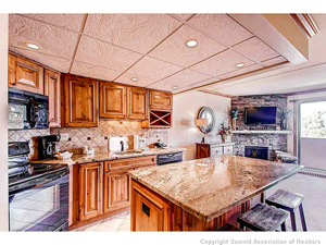 kitchen view of breckenridge condo for sale at 631 village road